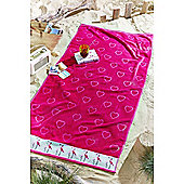 Catherine Lansfield Flamingo Beach Towel - Pink