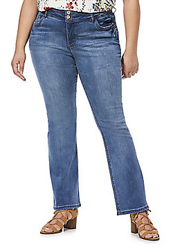 Simply Be Shape and Sculpt Plus Size Bootcut Jeans - Blue