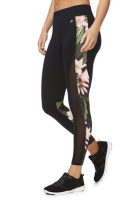 F&F Active Tropical Panel Leggings Black S