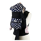 Mei Tai Baby Carrier With Hood & Pocket - Navy with White Spots
