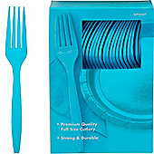 Turquoise Plastic forks - 100 Pack