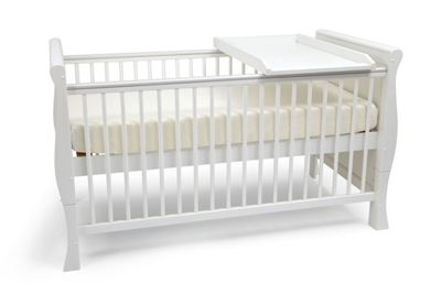 Scarlett Sleigh Cot Bed/Todler Bed, Sprung Mattress & Cot Top Changer - White