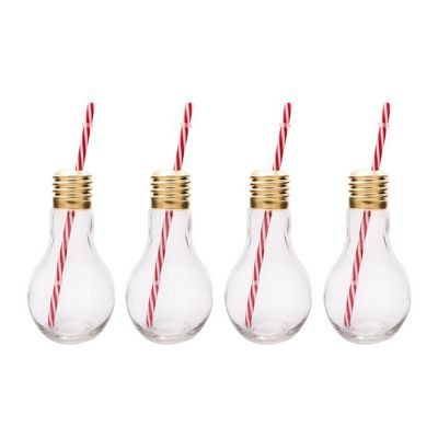 The Mixology Collection Edison Light Bulb Glass Tumblers with Straws Set of 4 | 400ml