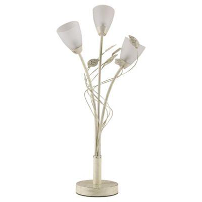 Tesco Lighting Autumn Leave 3 Arm Table Light, Antique Cream