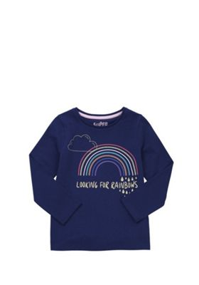F&F Looking For Rainbows Slogan Long Sleeve T-Shirt Navy 12-18 months