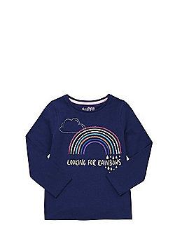 F&F Looking For Rainbows Slogan Long Sleeve T-Shirt - Navy