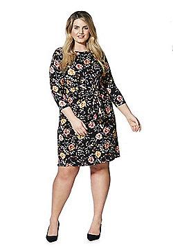 Lovedrobe Floral Print Knot Front Plus Size Dress - Black multi