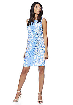 Yumi Bird Print Ruched Jersey Dress - Blue