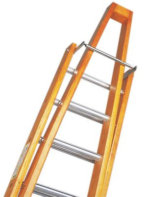 Trade 2.4m (7.87ft) Timber Double Window Cleaning Ladder (Alloy Tread)