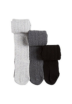 F&F 3 Pack of Cable Knit Super Soft Tights - Black & Grey