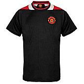 Manchester United FC Mens Poly T-Shirt - Black & White