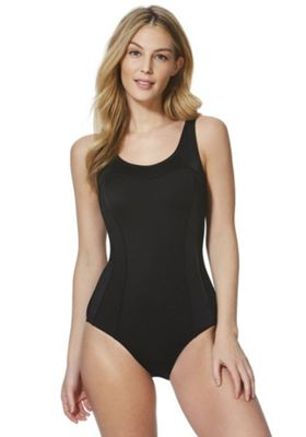 F&F Piped Panel Swimsuit Black 14