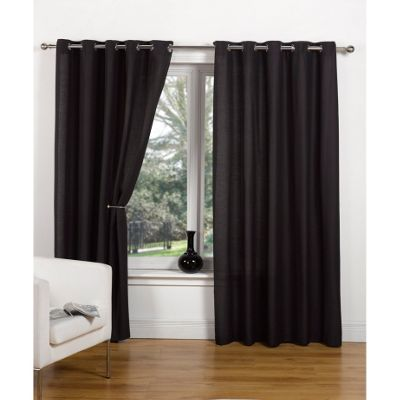Hamilton McBride Canvas Unlined Ring Top Black Curtains - 45x54 Inches (117x137cm)