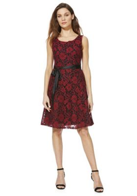 Solo Damask Lace Sleeveless Dress with Belt Red 12