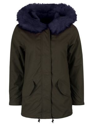 Brave Soul Panther Women's Parka With Navy Blue Fur Lining