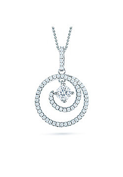 REAL Effect Rhodium Plated Sterling Silver White Cubic Zirconia Spiral Charm Pendant - 16/18 inch