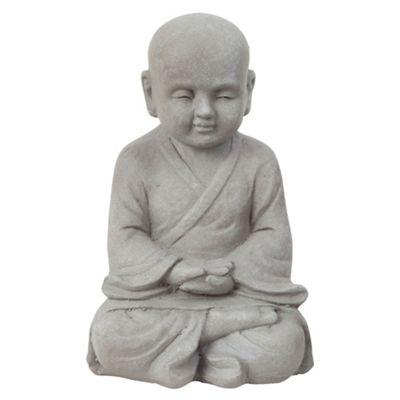 25cm Stone Look Fibreclay Meditating Shaolin Monk Buddha Garden Statue Ornament
