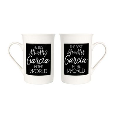 Quirky and Modern Best Mr and Mrs Garcia In The World Mug Set