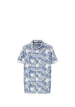 F&F Palm Leaf Print Short Sleeve T-Shirt - Blue & White