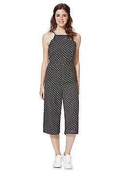 Fashion Union Polka Dot Culotte Jumpsuit - Black & White