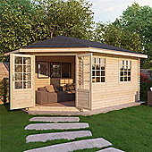 5m x 3m (17ft x 10ft) Sutton GRANDE Corner Log Cabin (Double Glazing) 28mm - Left Door Garden Cabin - Fast Delivery - Pick A Day
