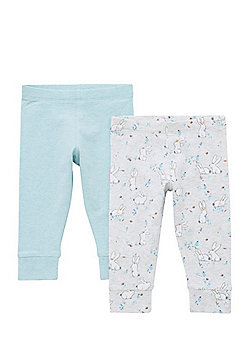 F&F 2 Pack of Bunny Print and Plain Cuffed Leggings - Grey & Green