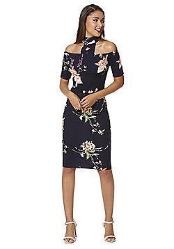 AX Paris Floral Choker Cold Shoulder Dress - Navy