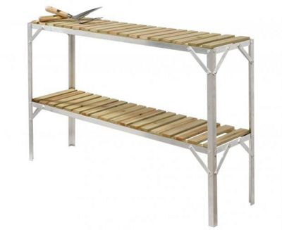 Simplicity Caverswall Staging / Bench Wooden Two Tier 1ft Wide x 4ft Long