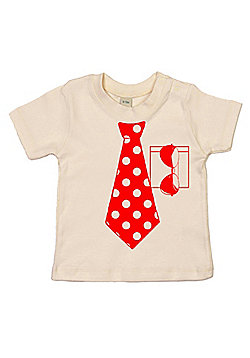 Dirty Fingers Spotty Necktie and Sunglasses Baby T-shirt - Cream