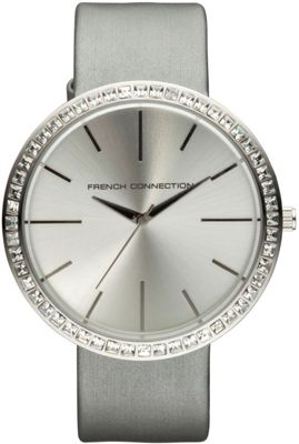 French Connection FCUK Ladies Leather Stone Set Watch FC1049SS