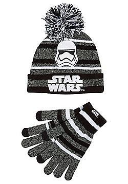 Star Wars Stormtrooper Bobble Hat and Gloves Set - Black