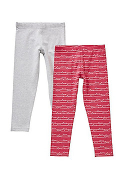 F&F 2 Pack of Love Leggings with As New Technology - Pink
