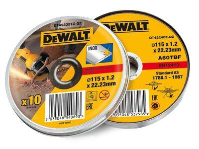DeWalt Stainless Steel Metal Flat Cutting Discs 115mm Tin of 10