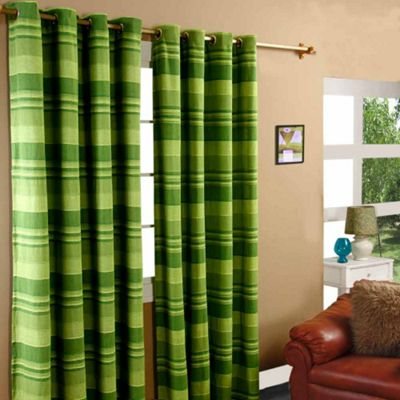 Homescapes Cotton Morocco Striped Green Curtain Pair, 66 x 72