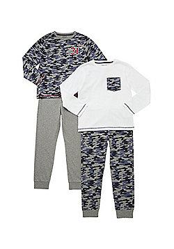 F&F 2 Pack of Camo Print and Plain Pyjamas - Grey