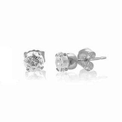 Urban Male Sterling Silver 5mm Round CZ Stud Earrings For Men