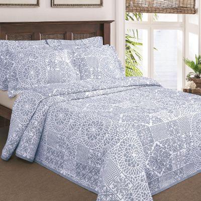 Moda De Casa Lace Patchwork Soft Touch Bedspread King Blue