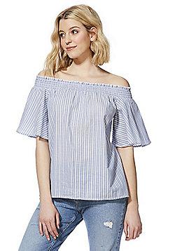 F&F Striped Bell Sleeve Bardot Top - Blue