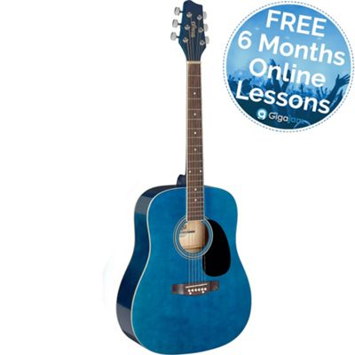 Stagg Dreadnought Acoustic Guitar - Blue – with 6 Months Free Online Music Lessons