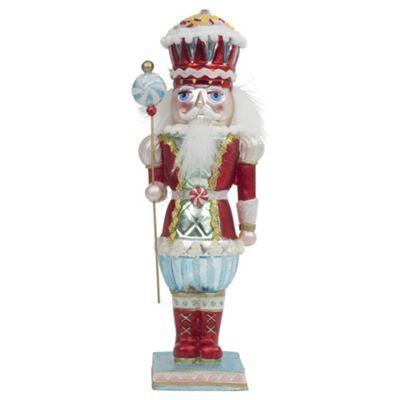Large Blue Standing Glass Christmas Nutcracker Ornament