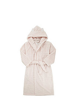F&F Embossed Fleece Animal Ears Hooded Dressing Gown - Pink