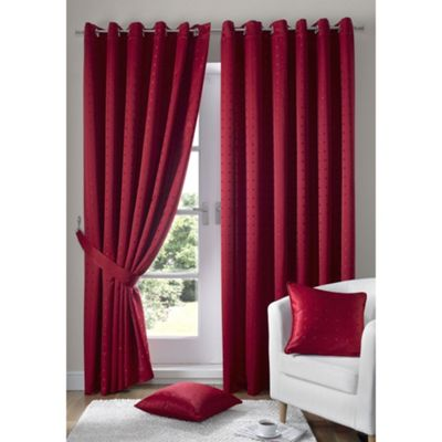 Alan Symonds Madison Red Eyelet Curtains - 90x90 Inches (229x229cm)