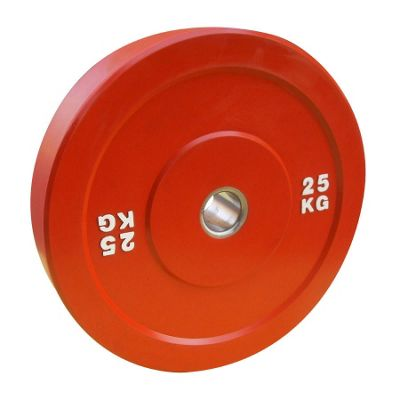Body Power 25Kg RED Solid Rubber Olympic Disc Weight Plate (x1)