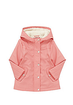 F&F Fleece Lined Hooded Mac - Coral