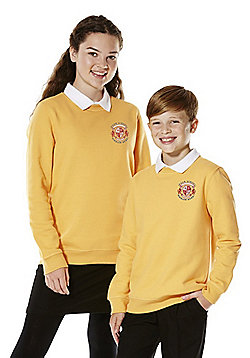 Unisex Embroidered Cotton Blend School Sweatshirt with As New Technology - Golden yellow
