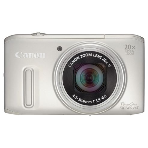 Canon PowerShot SX240 Digital Camera, Silver, 12.1MP, 20x Optical Zoom, 3.0 LCD Screen