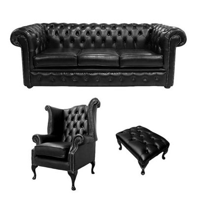 Chesterfield 3 Seater Sofa + Queen Anne Chairs + Footstool Old English Black Leather Sofa