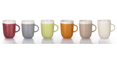 Set of 6 Cable Knit Mugs –6 Colours