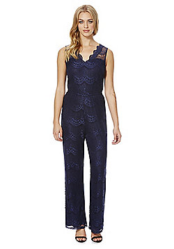 Mela London Lace Wide Leg Jumpsuit - Navy blue