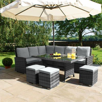 Buy Maze Rattan Kingston Corner Sofa Dining Set Grey